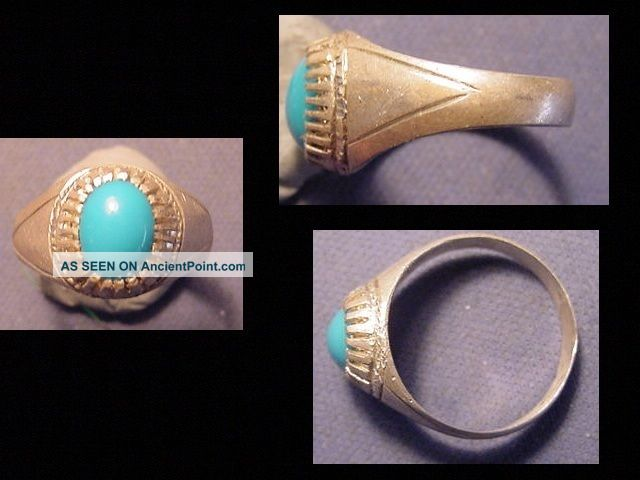 Near Eastern (afghanistan) Silver Ring,  Turquoise Stone Circa Post 1800 Near Eastern photo