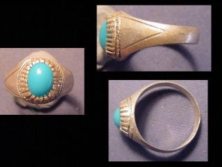 Near Eastern (afghanistan) Silver Ring,  Turquoise Stone Circa Post 1800 photo
