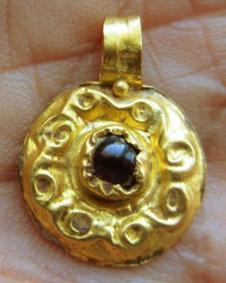Offers Invited For An Extremely Rare Gold Saxon Pendant Set With Deep Red Garnet photo