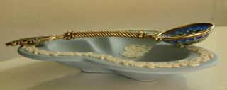 A Rare Antique Russian Gilded Silver Enamel Spoon.  Perfect Conditions photo