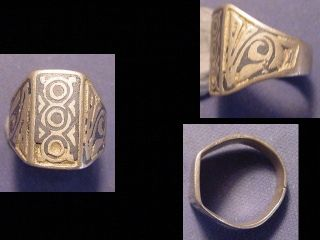 Near Eastern (afghanistan) Silver Ring,  Niello Engraving Circa Post 1800 photo