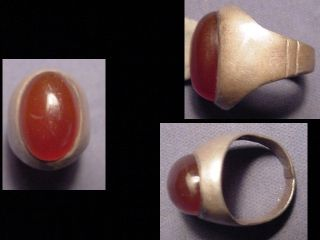 Near Eastern (afghanistan) Silver Ring,  Carnelian Stone Circa Post 1800 photo