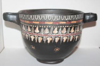 Quality Large Ancient Gnathian Skyphos Greek Pottery 4th Bc Wine Cup photo