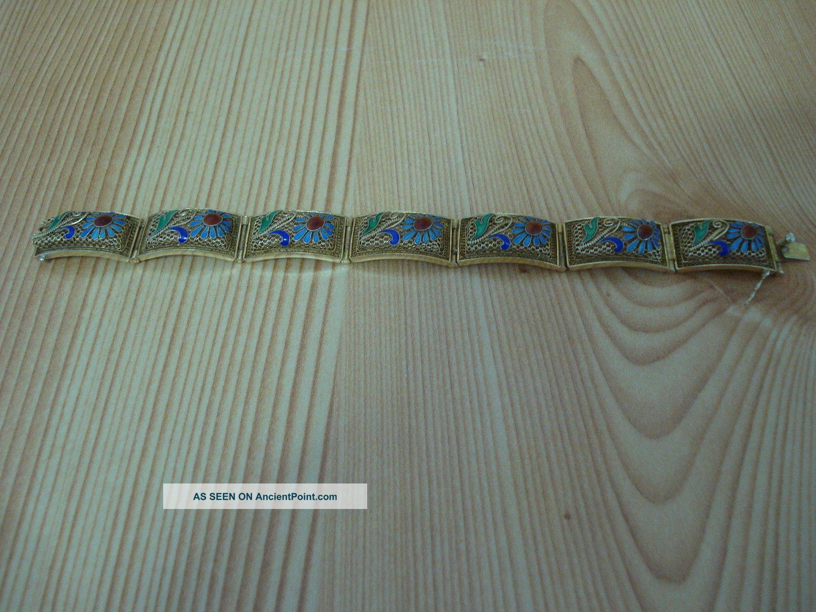 Chinese Handmade Sterling Silver Enamel Gilt Filigree Bracelet. Chinese photo