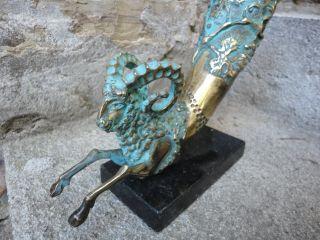 Antique Old Bronze Sculpture Elk Animal Deer Moose Statue Ancient Roman Greek photo