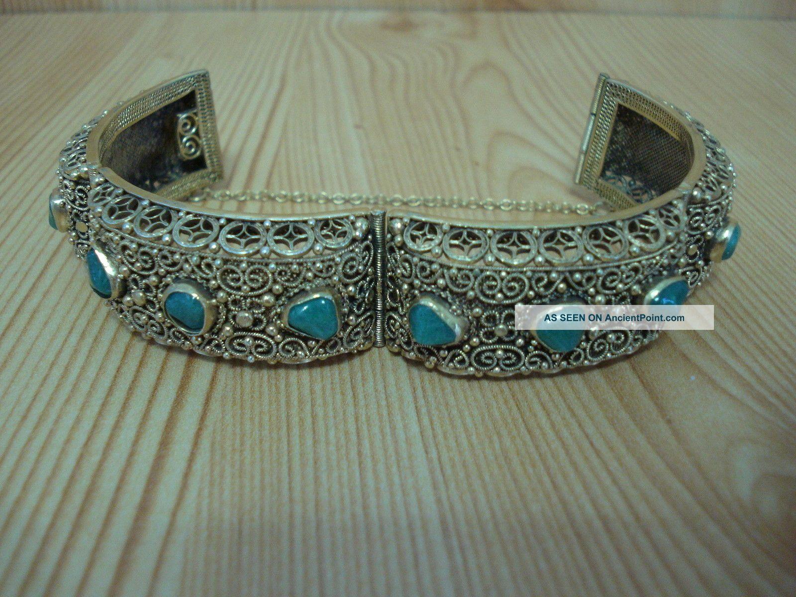 Vintage Chinese Handmade Sterling Silver Gilt Vermeil Filigree Jade Bracelet Chinese photo