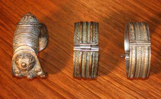 Antique 3 Authentic Greek Ornate Bronze Cuffs Bracelets Circa 1800 - 1850 photo