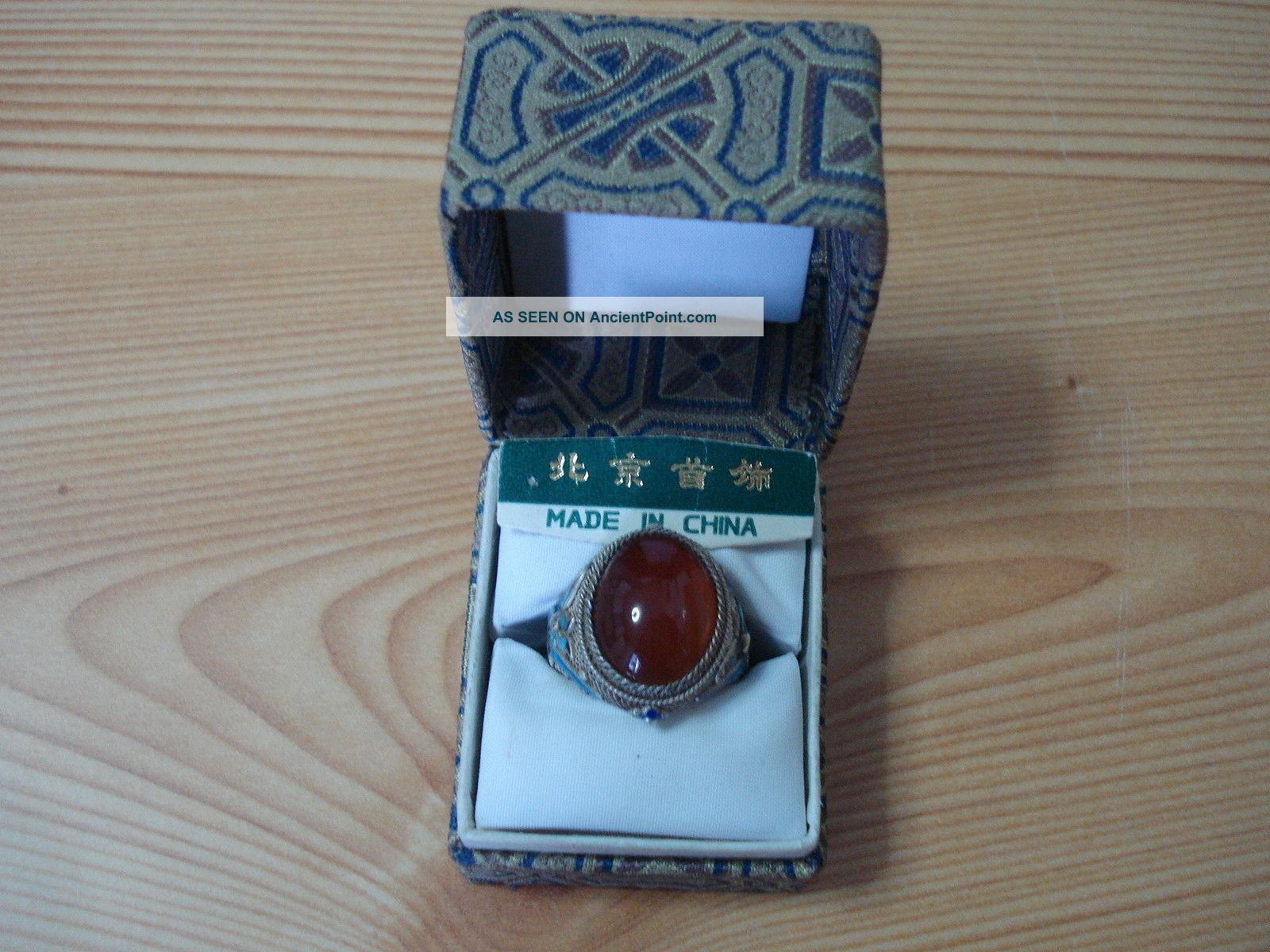 Chinese Handmade Export Sterling Silver Enamel Carnelian Ring One Sz. Chinese photo