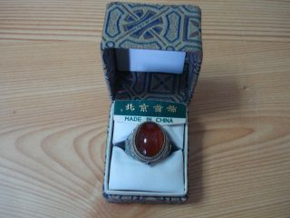 Chinese Handmade Export Sterling Silver Enamel Carnelian Ring One Sz. photo