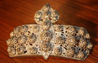 Antique Rare Authentic Greek Ornate Bronze Belt Buckle Clasp Circa 1800 - 1850 photo