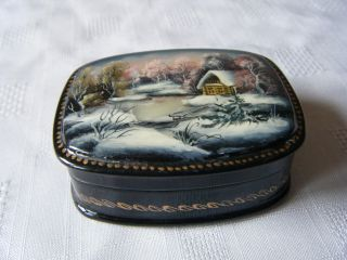 Russian Hand Painted Enammeled Box Mother Of Pearl Inlay Winter Log Cabin Scene photo