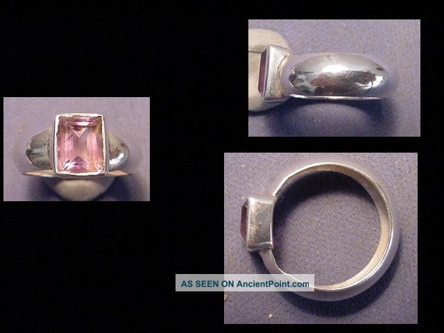 Near Eastern Silver Ring Amethyst Stone Circa Post 1800 A.  D. Near Eastern photo