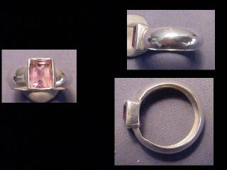 Near Eastern Silver Ring Amethyst Stone Circa Post 1800 A.  D. photo
