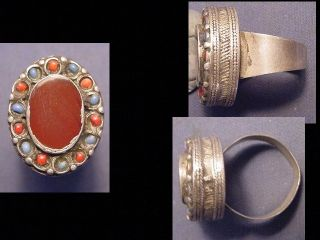 Near Eastern Silver Decorative Ring Circa Post 1800 photo