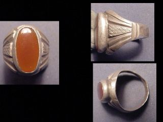 Near Eastern Silver Ring Carnelian Stone Circa Post 1800 photo
