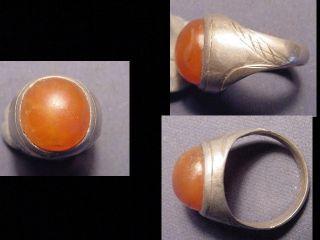 Near Eastern Silver Ring Carnelian Stone Circa Post 1800 photo