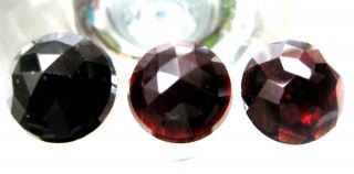 C.  1750 A.  D Georgian Period Round Cut Deep Red Garnet Jem Stone Collection photo
