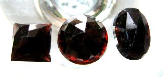 C.  1750 A.  D Georgian Period Deep Red Garnet Jem Stone Collection photo