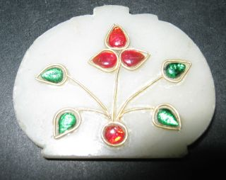 Indo Persian Jade Stone Pendant Enamel Ruby & Gold Emerald Studed photo