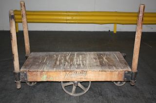 Nutting Antique Industrial Factory Lumber Cart Coffee Table photo