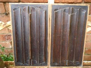 A Pair Of 19th Century Oak Linefold Panels (n2) photo