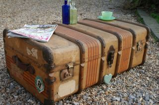 Vintage Steamer Trunk,  Rustic Coffee Table,  Blanket Box,  Tray & Key Brass Locks photo