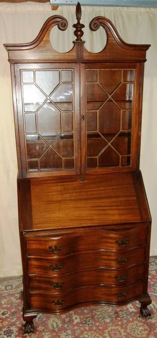 Antique Maddox Mahogany Serpentine 4 Drawer Secretary/ Desk/ Cabinet W/claw Feet photo