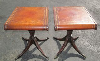 Pair 1940 ' S Mahogany Leather Top End Table Pedestal photo