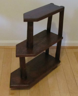Old Hickory Primitive 3 - Tier Table Stand Oak Arrow Shelves Side Table Stand photo