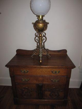 Victorian: Tiger Oak Dry Sink: Cabinet,  Nightstand,  Etc. photo