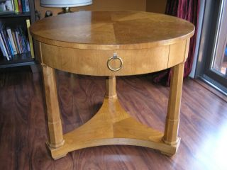 Vintage Milling Road Division Of Baker Furniture Round Side Table Single Drawer photo