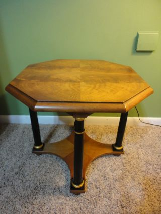 Vintage Baker Walnut End Side Accent Table Two Tiered Ebonized Columns photo