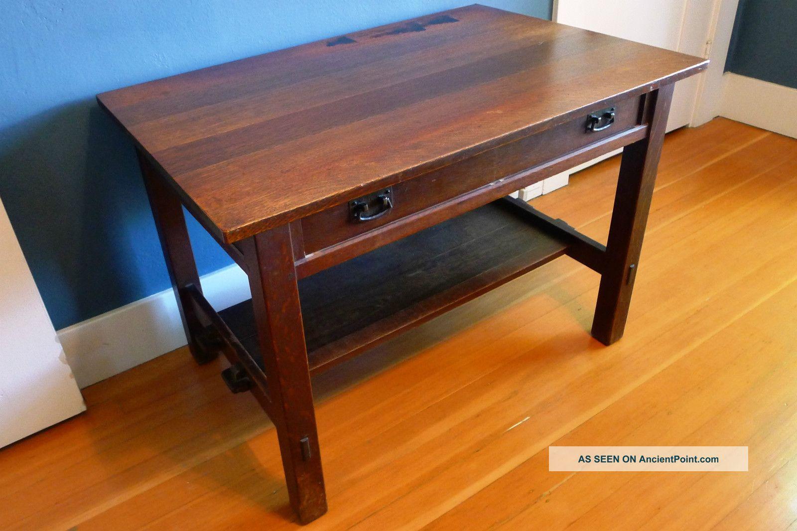 L Jg Stickley Arts Crafts Oak Library Desk Table Antique Vintage Mission