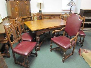 Feudal Oak Dining Room Table & 6 Leather Cushion Chairs 3 ' X 10 ' Chautauqua photo