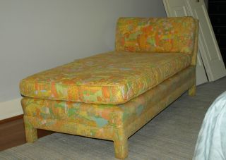 Vintage Mid Century Modern Upholstered Chaise Lounge photo