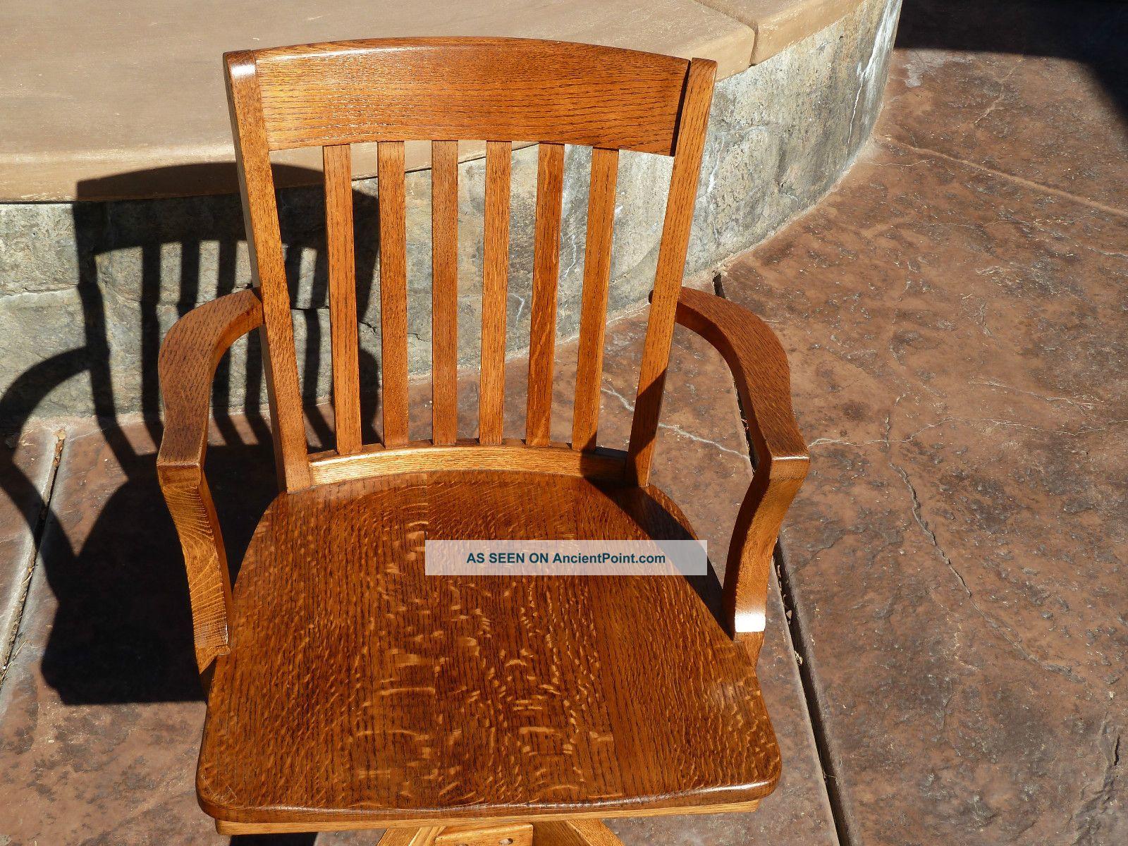 Antique Tiger Oak Swivel Lawyer Mission Desk Chair Murphy Chair Co