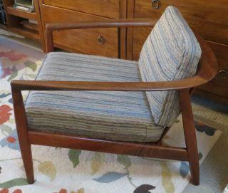 Mid Century Danish Modern Folke Ohlsson Dux Teak Lounge Arm Chair Sweden Mad Men photo