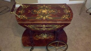 Vintage Italian Floral Inlay Serving Cart photo