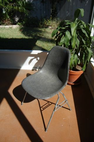 Vintage Eames Shell Chair Elephant Hide Grey Gray Herman Miller photo
