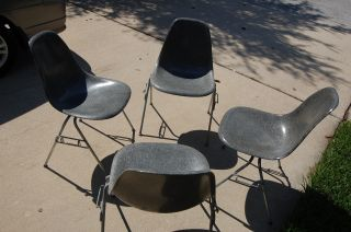 Four Vintage Eames Shells Chairs Chair Elephant Hide Grey Gray Herman Miller photo