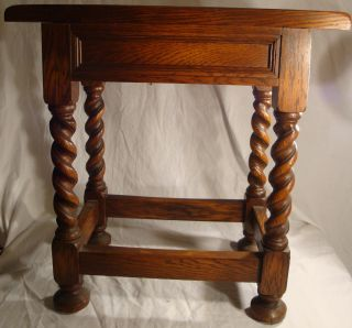 Antique Oak Jacobean Style Side Table By Macey Famous Maker Of Bookcases In Mi photo