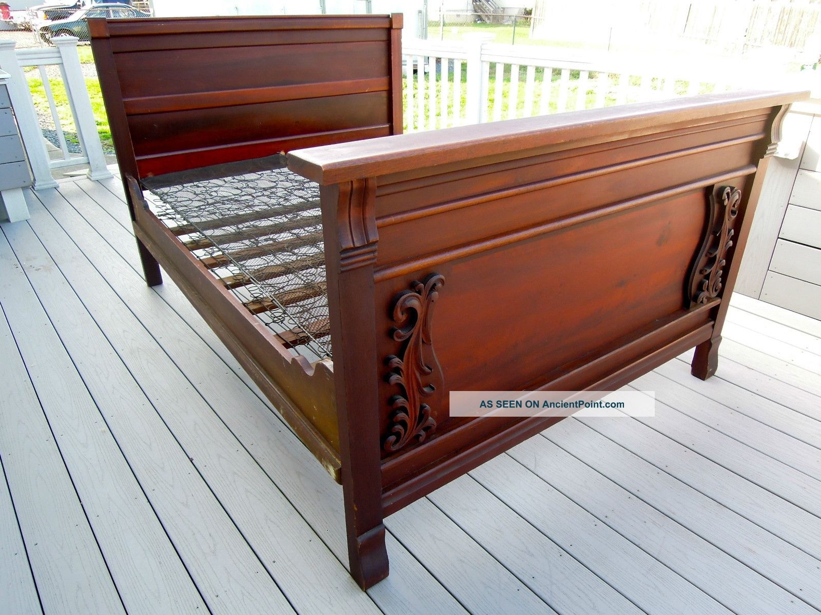 Marvelous photograph of Antique Wooden Bed Frame Antique mahogany bed frame with #733C2B color and 1600x1200 pixels