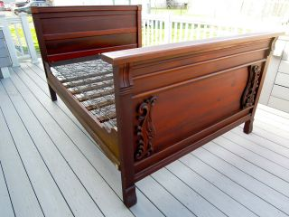 Antique Mahogany Bed Frame Headboard Complete With Slats And Boxspring photo