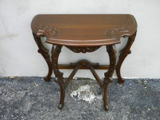 Early 1900 ' S Carved Half Moon Side Table 1622 photo