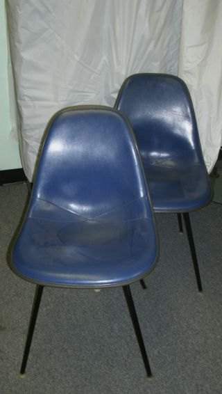 Eames Herman Miller Vtg Fiberglass Shell Chair W/blue Vinyl Seat Set Or 2 Nr photo