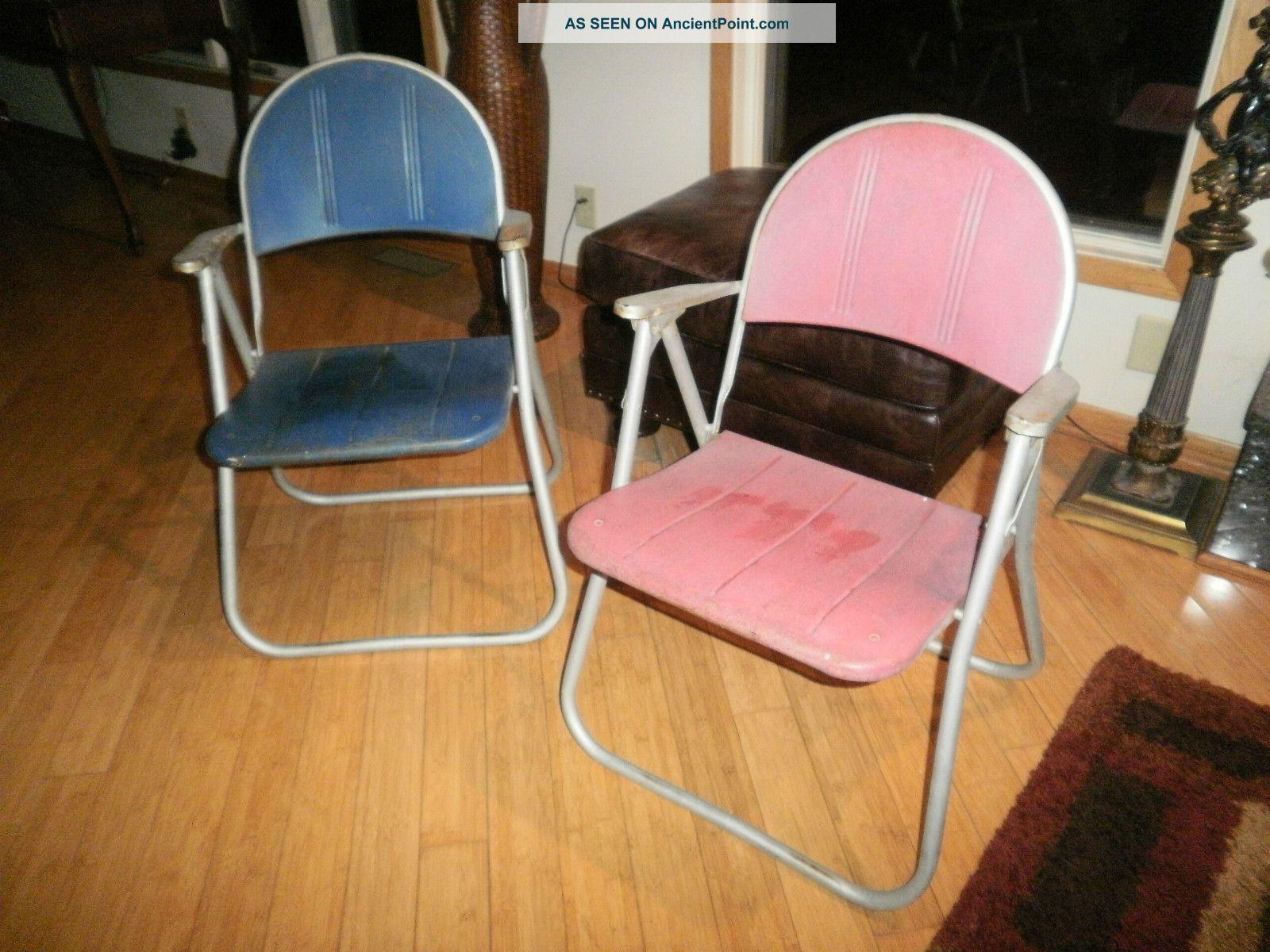 Vntg Folding Metal Patio Lawn Chair Mid Century Samsonite? Russel Wright? Antiqu Post-1950 photo