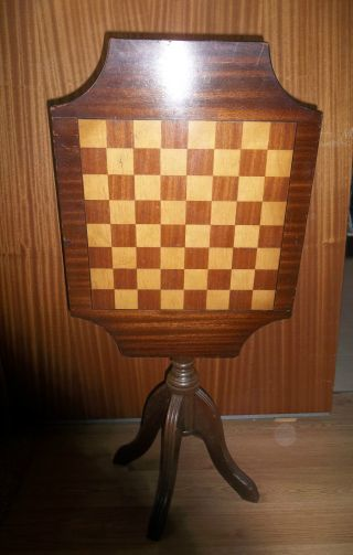 Stunning Antique Chess Inlaid Flip Top Folding Games Table Octagonal Carved photo