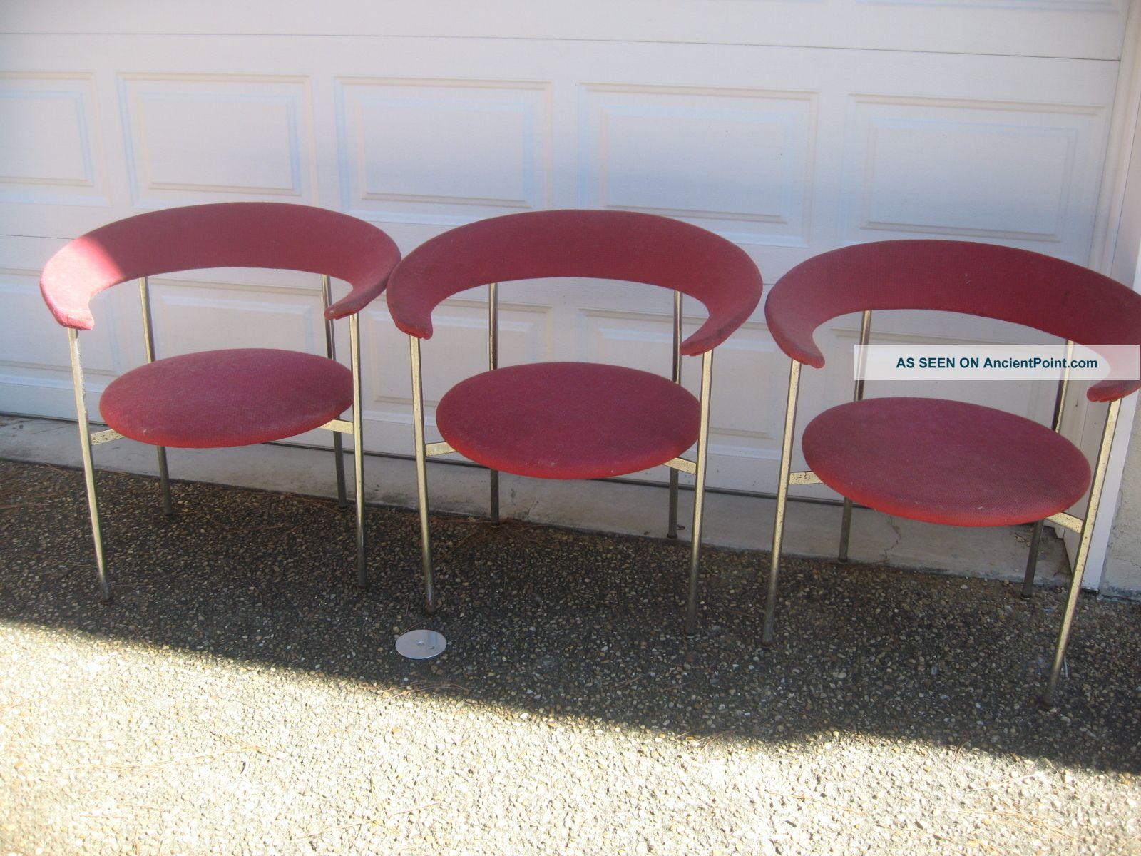 Mid Century Modern Chrome Arm Chair Set Of 3 Bauhaus Gray Miller Knoll Era Post-1950 photo