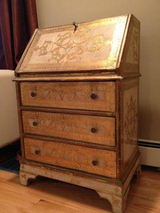 Romantic Shabby Chic Hollywood Regency Gold Gilt Italian Florentine Chest Desk photo