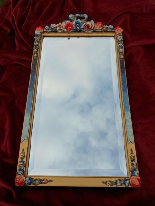 Vintage Barbola Mirror Red & Blue English Rose 1930s photo